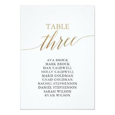 Elegant Gold Table Number 3 Seating Chart Table Seating Chart, Seating Chart Wedding, Gold Table Numbers, Wedding Table Numbers, Simple Wedding Invitations, Elegant Wedding Invitations, Wedding Envelopes, Wedding Posters, Simple Weddings