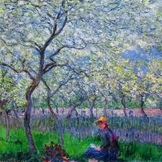 "Claude Monet ""An Orchard in Spring"" 1886 #ClaudeMonet #Monet #french #france #paris #art #artist #artlover #instapic #artgallery #arthistory #historyofart #instaart #instaartist #artofinstagram #Impressionism #landscape #colors #instacolor #masterpiece #fineart #spring #springtime #orchard"