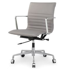 M346 Office Chair in Grey Italian Leather