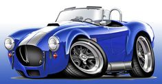 Shelby Cobra Blue-white Car Canvas Print / Canvas Art by Maddmax
