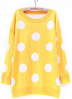 Yellow Long Sleeve Polka Dot Loose Pullovers Sweater