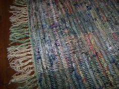 """Vintage Rag Rug, Hand Loomed RUG, Heavy, Country, Colonial, Farmhouse Decor,  Reds and Blues, 38"""" x 23"""""""