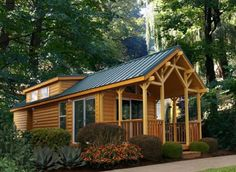 The Pacific Lodge 01   386 Sq. Ft Park Model Tiny House by Palm Harbor Homes  Maybe cluster several in the clearing with the natural setting of the woods around.