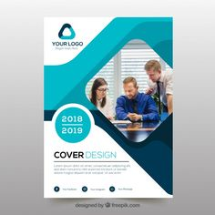 Abstract business cover template with photo vector free down Free Brochure, Creative Brochure, Brochure Layout, Brochure Template, Magazine Nature, Magazine Ideas, Business Flyer Templates, Flyer Design Templates, Templates Free