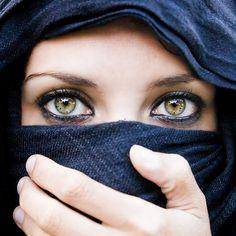 Pretty Arabian eyes. Stunning eye colour!