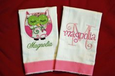 Personalized owl burp cloth set. by BebesStitches on Etsy, $20.00