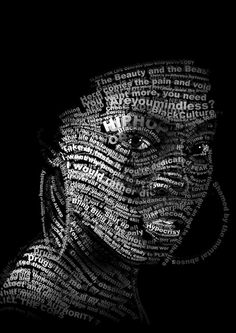 amazing #typographic portraits in which text and #typeface are used to develop a…
