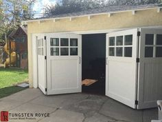 Carriage Doors At Tungsten Royce we apply high standards of craftsmanship, finish, and installation for our carriage garage doors. We provide real carriage doors to both homeowners and contractors. Unlike overhead garage doors, real carriage doors swing outward (or inward) on hinges. They can slide sideways, like barn doors, with the right hardware. They exist today as an authentic alternative to overhead garage doors. Read more There are many different types of carriage house wood garage…