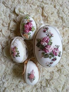 Ribbon embroidery easter eggs.