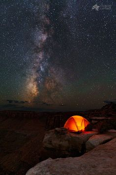 *Starlight Camping On The Canyon Edge* No, I didn't really camp in this spot but I really enjoy using my tent as a prop for some great nightscape image... - Mike Berenson - Google+