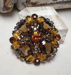 2 1/8 Large Dome Amber AB Rhinestone Brooch Gorgeous Vintage. $44.95, via Etsy.