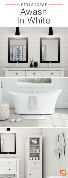 Contrast is king in this gorgeous white bathroom. Bold black-framed mirrors and pendant lights add a contemporary twist to an elegant cottage-style vanity. A luxuriously modern soaking tub is a stunning stand-out against beautifully rustic shiplap walls, and a simple wood linen closet offers stylish storage and organization. Click to explore this gorgeous white bath.