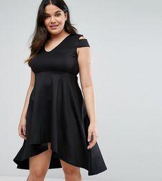 835db448eb Be Jealous Plus Skater Prom Midi Dress With Hi Lo Hem - Black Plus Size Prom
