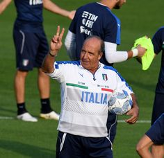 Head coach Giampiero Ventura reacts during a training session at the club's training ground at Coverciano on October 3, 2016 in Florence, Italy.