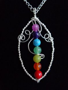 Seven Chakras Pendant, Wire Wrapped Pendant, Gemstones Pendant with chain, Meditation Harmony Necklace, Handmade by Iris Jewelry Creations.