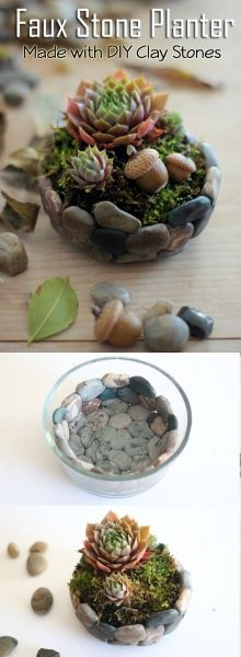 Who would not love with this DIY stone planter. But look closer – those aren't actual stones, they are made from clay!