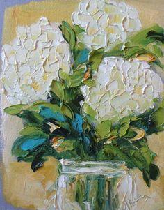Wedding Flowers Original Painting Hydrangeas Impasto Palette