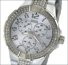 GUESS Status In-the-Round Multifunction Watch GUESS. $90.95. Silver-tone watch. White polycarbonate bracelet. Multifunction: Day, Date, 24 Hour/Intl. time. 50 M/165 FT. Women's trends. Save 21% Off!