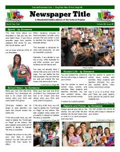 """School Front Page template that emphasizes various areas of school life.  Try this 11""""x14"""" newspaper template now using our Free Cloud Designer: www.makemynewspaper.com/free-newspaper-templates"""
