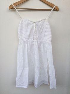 EUC BILLABONG WHITE Hippie BEACH BOHO Surfer Girl SUNDRESS Dress S small Cotton…