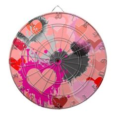 DARTBOARD GAME - DESIGNER HEARTS - PINK - GIFTS