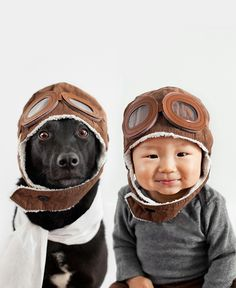 Jasper and Zoey as air pilots -- Photographer Grace Chon turns the camera on Jasper, her 10-month-old baby, and Zoey, her 7-year-old rescue mutt for a photo series that features the stylish pair decked out in an eccentric variety of matching headgear. (Mother Nature Network)