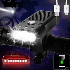 Bicycle Light USB Rechargeable Bike Light Waterproof LED Headlight as Power Bank Bike Accessories Usb, Bicycle Lights, Bike Light, Performance Bike, Buy Bicycle, Luminous Colours, Mtb Bike, Bicycle Accessories, Led Headlights