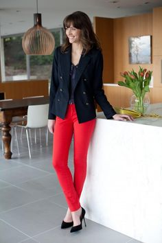 I've been looking for a navy blazer - this looks like the one!  Love the red jeans too....hmmm....
