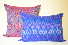 Create a tribal vibe in your home with our lumbar ikat cushion cover.  Cushion cover measures 13 x 20 inches (35 x 50cm) backed with inner cotton lining and invisible zipper- inserts not included.  Our ikat fabrics are handwoven in Bali using the traditional method of dying the cotton yarns before weaving together.  All seams are professionally finished to prevent fraying.  For best care wash separately by hand and use medium dry iron.  All fabric sewing is done in our Sydney studio…