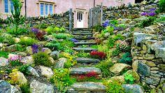 8 romantic garden and landscape walkways #garden Hillside Landscaping, Landscaping With Rocks, Front Yard Landscaping, Landscaping Ideas, Walkway Ideas, Farmhouse Landscaping, Backyard Ideas, Landscape Design, Garden Design