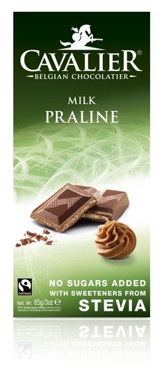 Tablet with sweeteners from Stevia, milk chocolate with hazelnutcream filling. Cavalier the pioneer in no sugars added chocolate.
