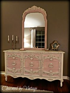 Antoinette Pink and White Shabby French Dresser and Mirror  ♥