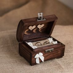 Personalized wedding ring box. Rustic wooden by collectivemade