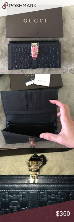 💎GUCCI💎leather continental wallet New authentic GUCCI wallet in horsebit embossed leather with gold buckle. Color is a rich deep blue-green. Gucci Bags Wallets