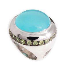 Anel em prata e prata com banho em ouro com cravação em pedras preciosas