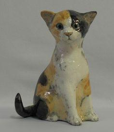 Collectible Raku Pottery Calico Ceramic Cat Kitten Statue Scupture 0081010 | eBay