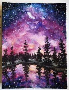 Night Sky Painting, Galaxy Painting, Galaxy Art, Watercolor Art Paintings, Watercolor Illustration, Watercolour, Landscape Art, Landscape Paintings, Pink Lila