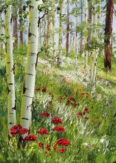 """""""Falls Rich Colors"""" - Originals - All Artwork Watercolor Landscape, Landscape Art, Landscape Paintings, Watercolor Art, Beautiful Paintings, Beautiful Landscapes, Birch Tree Art, Summer Painting, Landscape Pictures"""