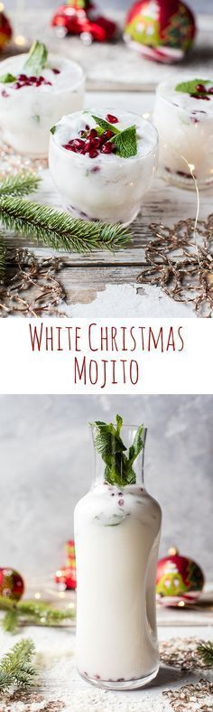White Christmas Mojito This drink is simple as can be and perfect for all your holiday parties. The post White Christmas Mojito appeared first on Getränk. Party Drinks, Cocktail Drinks, Cocktail Recipes, Party Snacks, Cocktail Ideas, White Cocktails, Bourbon Drinks, Party Games, Drink Recipes
