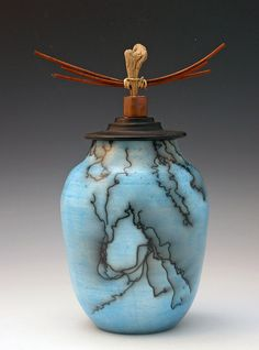 Horsehair Raku Vessel by HomeportPotteryStudio, via Flickr