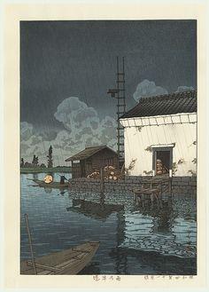 Rain at Ushibori, 1929 by Kawase Hasui (1883 - 1957)