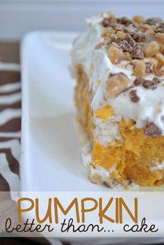 ---Pumpkin Poke Cake--- 1 box yellow cake mix 1 small can pumpkin puree 1 - 14 oz. can sweetened condensed milk 1 - 8 oz. Pumpkin Cake Recipes, Poke Cake Recipes, Pumpkin Dessert, Dessert Recipes, Pumpkin Poke Cakes, Pumpkin Pancakes, Fall Desserts, Delicious Desserts, Yummy Food