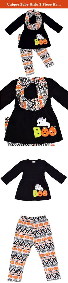 "Unique Baby Girls 3 Piece Halloween Legging Set with Infiniti Scarf (6). These unique 3 piece outfits are perfect for your little girl's Halloween wardrobe. This set features a repeated pumpkin pattern on the leggings with a perfectly matching long sleeve skirt top and scarf. The shirt completes the look with the word ""Boo"" spelled out just bellow a cute ghost on the top. Made of a 97% high quality soft cotton and 3% stretchy spandex blend this outfit is soft and comfortable."