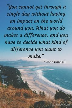 """""""You cannot get through a single day without having an impact on the world around you. What you do makes a difference, and you have to decide what kind of difference you want to make."""" ~ Jane Goodall"""
