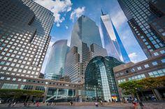 Modern buildings in Battery Park City, Manhattan, New York.