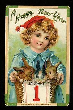 New Year Postcard child w/ rabbit bunny January 1st Calendar Tuck #605 Germany
