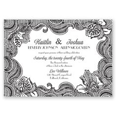 Real Glitter Lace Wedding Invitation | Floral Lace, Typography Style at Invitations By David's Bridal