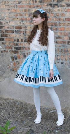 Classic Blue Piano Key Lolita Skirt Set inc Headbow, totebag