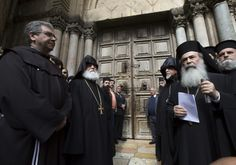 "*""CHURCH OF THE HOLY SEPULCHRE CLOSES OVER MUNICIPALITY'S TAX DEMANDS. ""We... are following with great concern the systematic campaign against the Churches and the Christian community in the Holy Land, in flagrant violation of the existing Status Quo."""" Jerusalem heads of churches in front of the Church of the Holy Sepulchre, which closed over municipality's tax demands on February 25th, 2018.. (photo credit: MAB-CTS)"