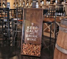 18x45  Wine Cork Holder Wall Decor Art - Keep Calm & Drink Wine via Etsy